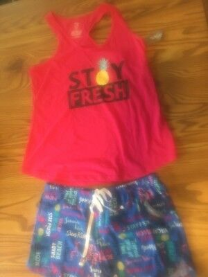 NWT Women's Secret Treasures PJ's Tank & Shorts 2 Pc Set Sleepwear Blue Pink M
