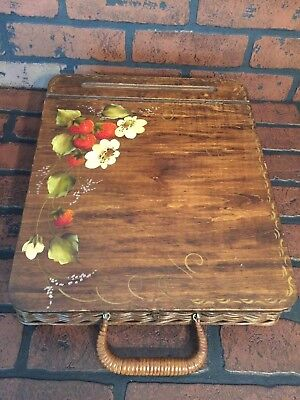 Vintage Portable Writing Traveling Secretary Lap Desk Hand Painted Signed Wicker