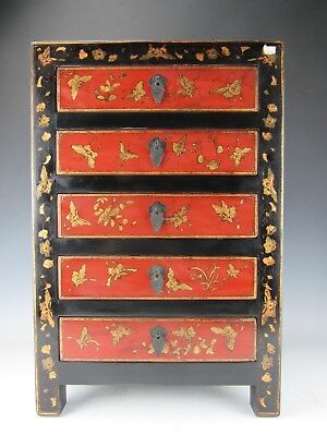 A Chinese Black/Red Lacquer Gilt Butterf /document Cabinet Chest 5 Drawers 24' H