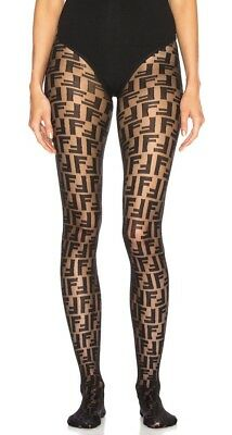 a426b533dff1 FENDI MONOGRAM LOGO Tights Stockings Pantyhose Black Small Medium ...