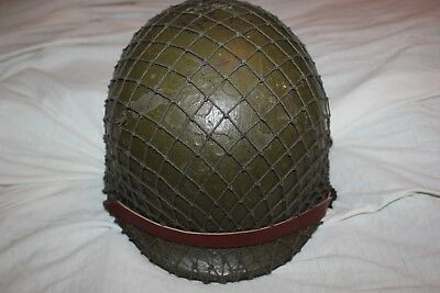 US Military Issue WW2 Front Seam  M1 Helmet With Liner. Complete H3