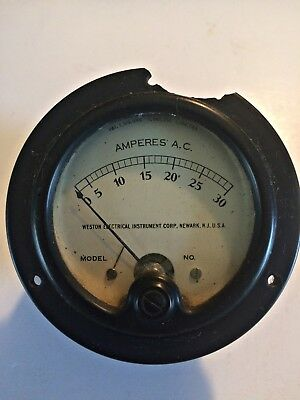 Vintage Weston Instruments D.C. Amperes Gauge 0-30 Model 476*