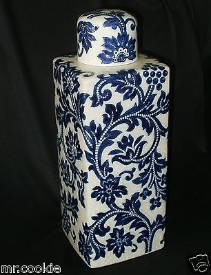 "Vase / Urn with Lid Crackled Style White Off & Cobalt Blue Floral 16"" Embossed"