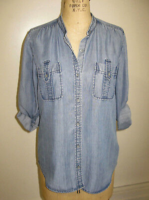 30124f7f2350 7 For All Mankind Tencel Women's Button Front Denim Shirt With Sleeve Tabs