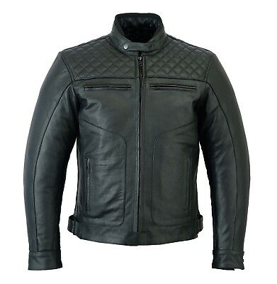 Mens Motor Cycle Motor Biker Touring Genuine Strong Cow Leather Jacket