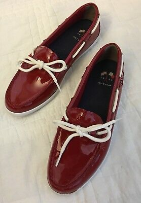 c53e41b4dee Cole Haan 7.5 Nantucket Camp Moc Womens Red Patent Leather Loafer Boat Shoes
