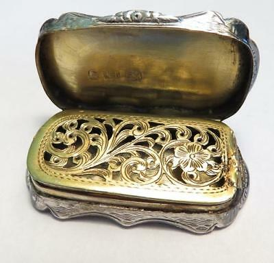 Early Victorian Small Engraved Sterling Signed A.t. Vinaigrette Gilt Interior