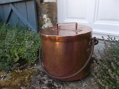 French antique large solid copper soup stock pot with lid hammered