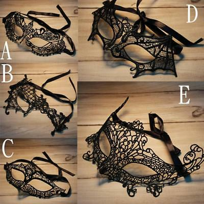 Venetian Black Lace Mask Gothic Hen Masquerade Halloween Party Fancy Dress Prom