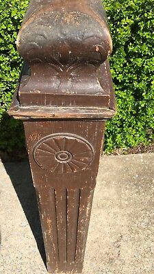 Antique OAK Fluted Newel Post Architectural Salvage HAS BEEN PAINTED