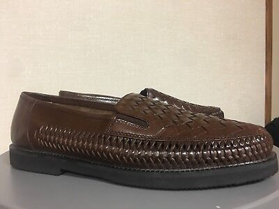 d12b41c904d Deer Stags Men s Woven Leather Loafer Size 10.5 D Brown Huaraches