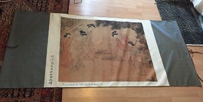 Chinese Japanese Oriental Scroll Decorated With Script Extra Large