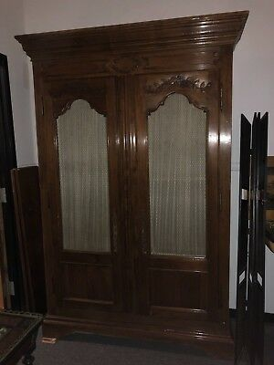Antique Display China Cabinet Bookshelf Boocase Doors Chicken Wire And Curtains