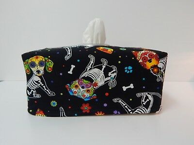 Tissue Box Cover Cadavera Dogs on Black  With Circle Opening - Lovely Gift Idea