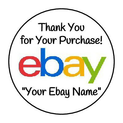 "72 Round GLOSSY Thank You for Your Ebay Purchase Stickers ""Your Ebay Name"" 1.67"""