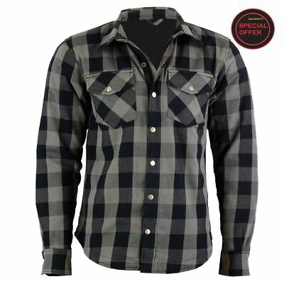 Motorcycle Covert Flannel shirt With-100%DuPont-Kevlar Lining-CE-Approved Armour