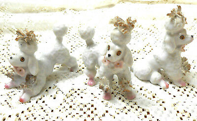 Vintage 1950s Porcelain (3) POODLE FAMILY SET Spaghetti Gold& Pink Flowers JAPAN