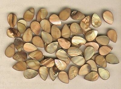 Lot of 60 Pear Shaped Brown 1920's Pearl Shell Sequins