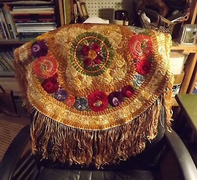 Antique Matyo Hungarian silk Embroidered Round Tablecloth with long fringes
