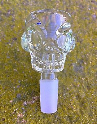 14mm /18mm Clear Skull Glass Bowl Slide Thick Glass Fast Free USA Shipping