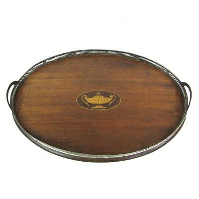 """Antique Inlaid Wood & Sterling Silver 19"""" Oval Gallery Serving Tray"""