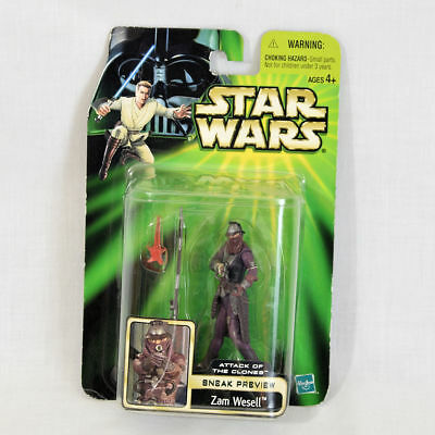 """2001 Hasbro Star Wars Attack of The Clones Zam Wesell Action Figure 4"""" NEW"""
