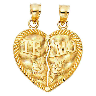 14k Yellow Solid Gold Te Amo Heart Breakable Split Broken Charm Pendant Unisex