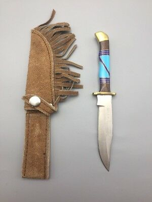 Fixed Blade Knife With Custom Inlay Handle And Leather Sheath - Navajo!