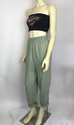 Vintage 80s High Waist Pull On Army Military Green LINEN Pants Tapered Trouser M