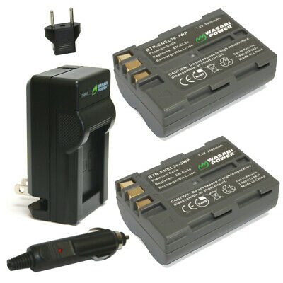 Wasabi Power Battery (2-Pack) and Charger for Nikon EN-EL3e
