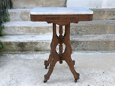 Marble Top Table Victorian Eastlake Table