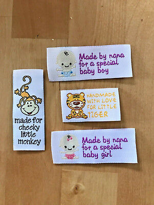 Woven labels for baby clothes and crafts! This listing  is for 4 labels.