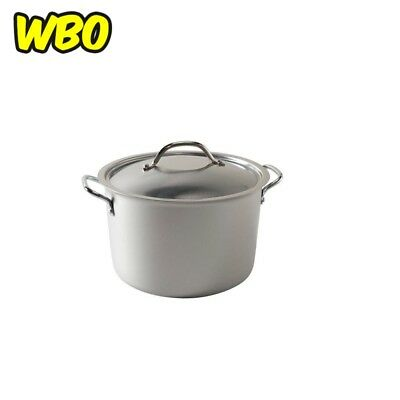 ALUMINUM STOCK POT 8 Qt Stainless Steel Lid Heavyweight Aluminum Nonstick NEW