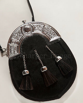 SPORRAN Black Cowhide with 3 Tassels & Silver Plate Embossed Celtic Knots