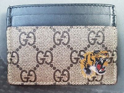 461b0e30c677 GUCCI GG Supreme Tiger Symbol Card Holder Wallet 451277 K5X1N 8666 Authentic