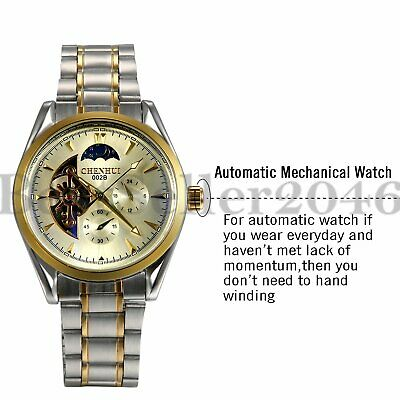 Luxury Moonphase Automatic Mechanical Skeleton Stainless Steel Mens Wrist Watch