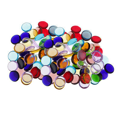 280x Multicolor Clear Round Glass Pieces Tiles for Mosaic Making Craft 15mm