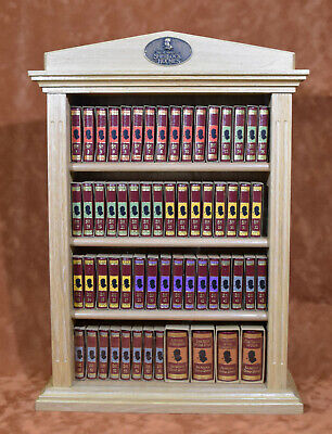 "MINIATURE BOOK ""The Complete Sherlock Holmes"" wooden bookshelf with all 60 vol."