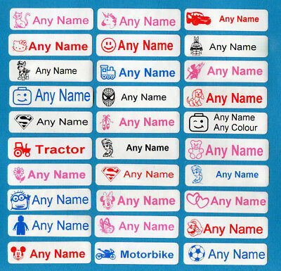 50 Printed Iron-On Name Tags Tapes Custom Labels School Clothes Personalised Kid