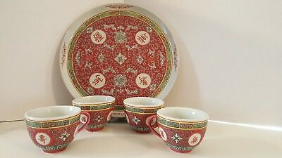 Set of 4 Old Vtg Hand Painted Chinese Porcelain Red Cups with Handle and platter