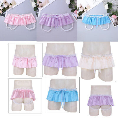 Sissy Men's Soft Satin Ruffle Ruffled Bloomer Skirted Panties Underwear G-string