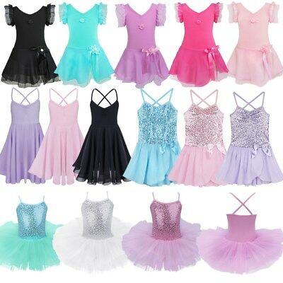 Toddler Girls Gymnastics Ballet Dress Leotard Kids Dance Tutu Skirt Costumes