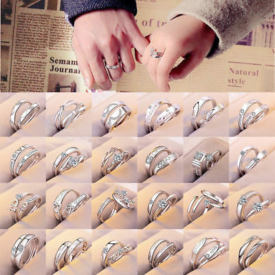 1 Pair Silver Plated Lovers Couple Set Crystal Diamond Wedding Ring Jewelry
