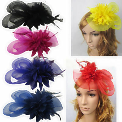 Hair Accessories Women Hairpin Clip Fascinator Hair band Vintage Feather Flower