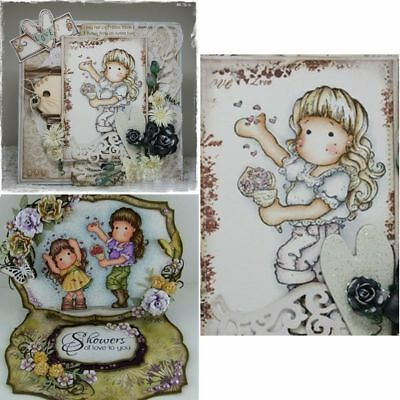 Lovely Girl Clear Transparent Stamps &Metal Cutting Dies Stencils Card Decors