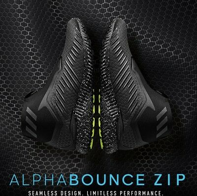 designer fashion 92afa bc1e6 Adidas Alphabounce 5.8 Zip M Athletic Black Mens Shoes Training Running Sz  8.5