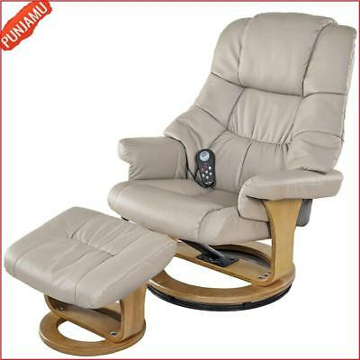 Ultimate Relaxing 8-Motor Massage Recliner with Heat Ottoman Beige Wood Base US