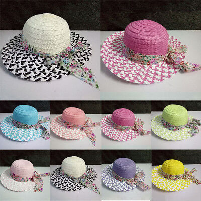 Children Girls Shading Hat Straw Big Bowknot Folding Summer Beach Caps Sun Hat