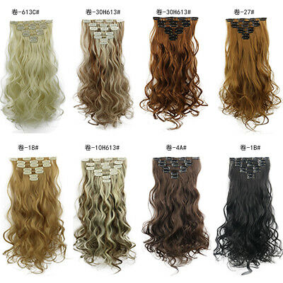 7 Pieces Full Head Natural Wavy Curly Hair Clip In Real As Human Hair Extensions