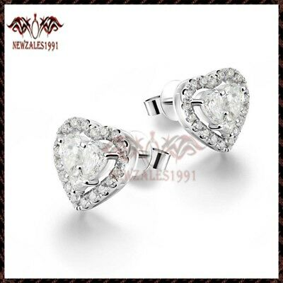 Romantic Heart Shape Diamond Stud Earrings for Women 1.50 ct 14K White Gold Over